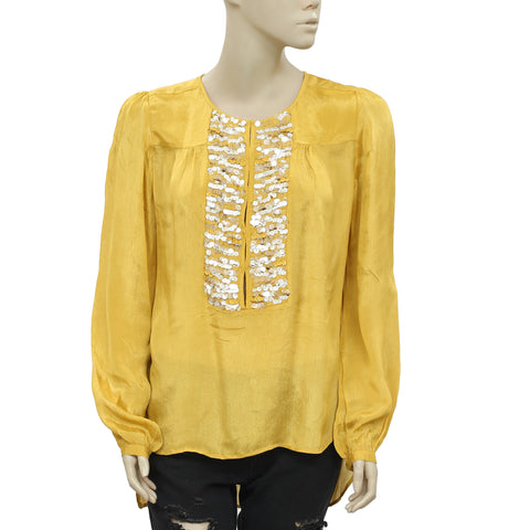 Anthropologie Yoana Baraschi Sequin Embellished Yellow Tunic Top M