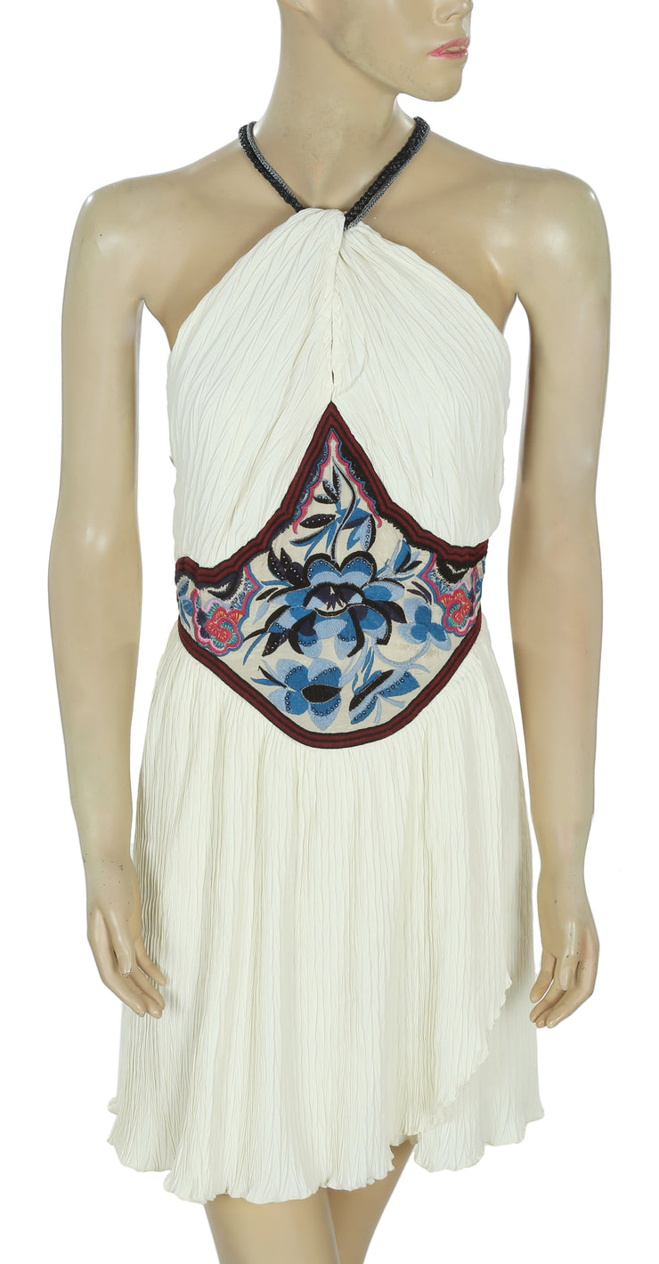 Free People Marcela Embroidered Ivory Mini Dress S 6