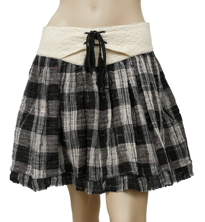 Free People Embroidered Plaids & Checks Gauzy Skirt M