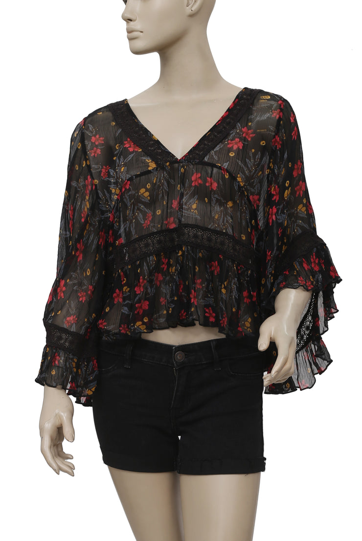 Free People Floral Printed Lace Ruffle Top S