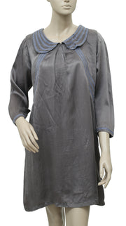 White Chocolate Embroidered Peter Pan Neck Gray Tunic Dress Medium M