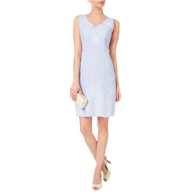 Phase Eight Bree Embroidered Blue Mini Dress L