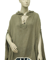 Free People The Poncho Tassel Hoodie Top XL