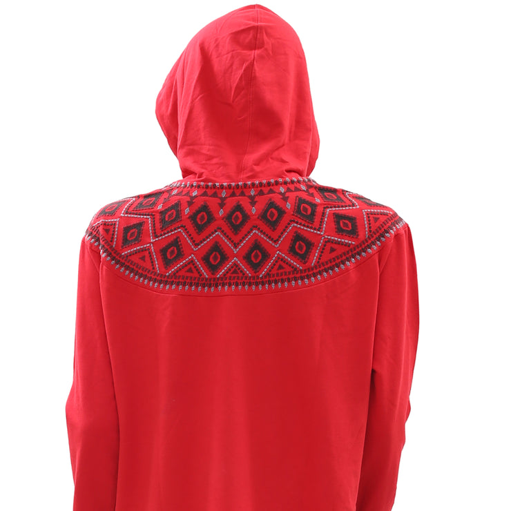 Rufflhewn Embroidered Long Sleeve Red Sweatshirt Oversized Hoodie Top L