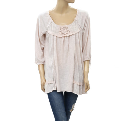 Odd Molly Anthropologie Embroidered Crochet Lace Tunic Top S
