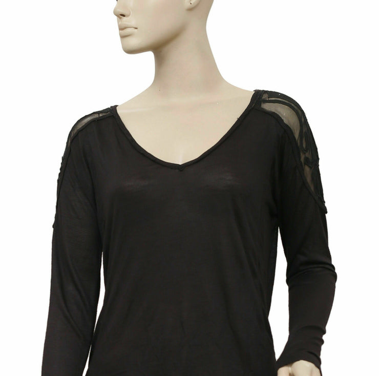 Free People The Gatsby Black Blouse Top XS