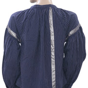 Ulla Johnson Striped Navy Blouse Top Lace Shimmer Oversized Cotton XS New