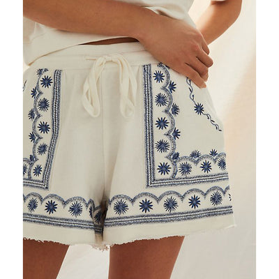 Daily Practice by Anthropologie Lou Embroidered Lounge Shorts