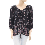 Ecote Floral Paisley Printed Black Blouse Top M