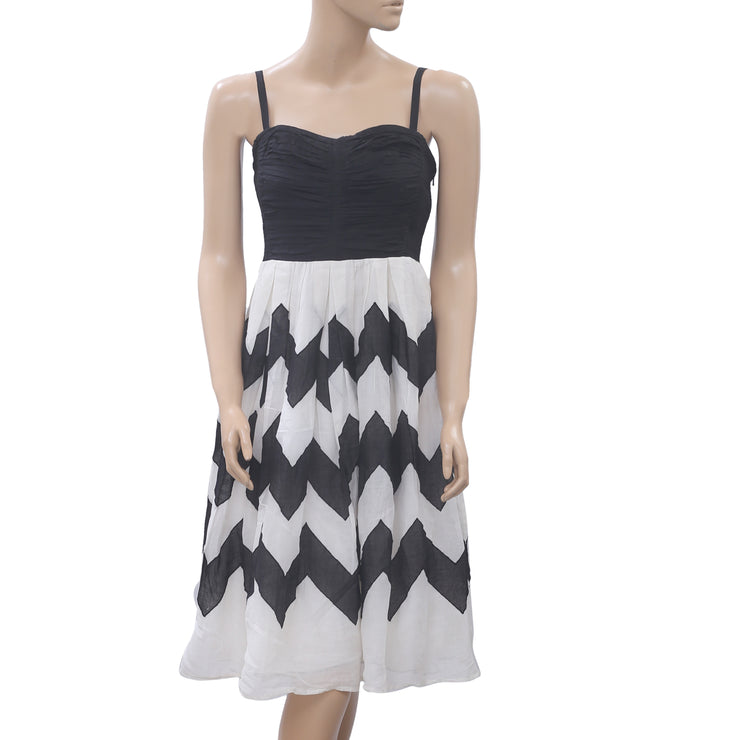 Leifnotes Anthropologie Cherie Chevron Midi Dress Printed Smocked S NEW