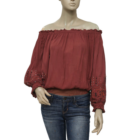 Free People Embroidered Off Shoulder Bodysuit S