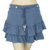 Free People Tiered Smocked Blue Gauze Mini Skirt S