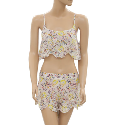 Free People Eyelet Embroidered Floral Printed Crop Top Shorts Set S