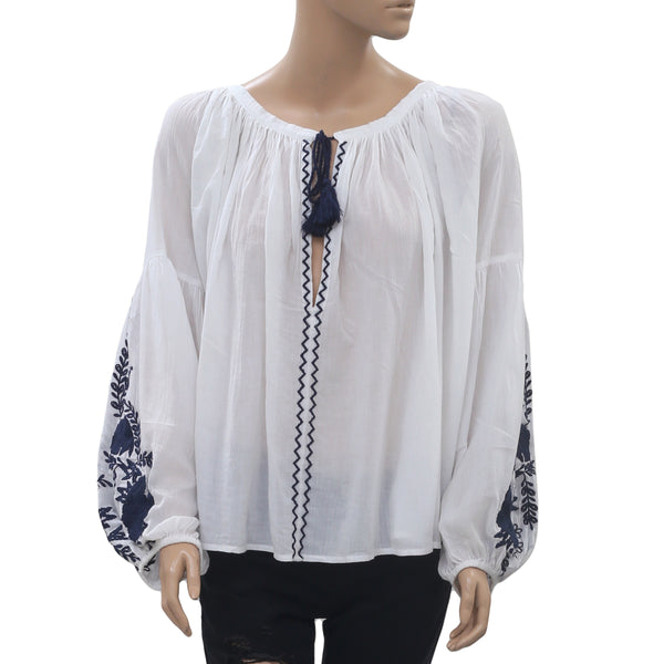 Free People Embroidered Blouse Top Cotton Boho Holiday White L/XL New