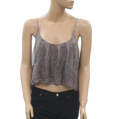 Kimchi Blue Scalloped-Edge Cami Crop Top Embroidered Swing Brown XS NWT