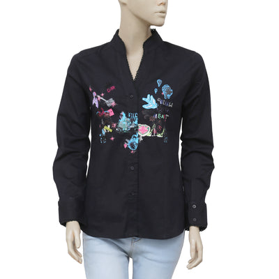 Miss Sidecar Printed Lace Black Buttondown Shirt Top Small S
