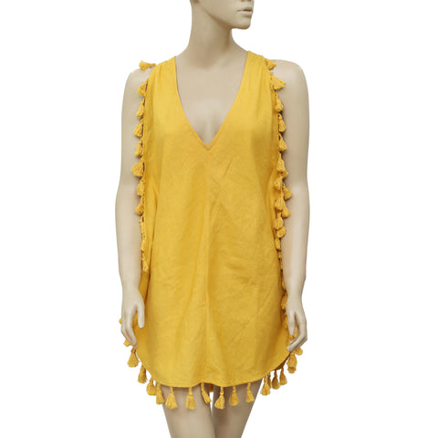 Free People Tassel V Neck Tie Back Dress M