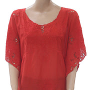 Pedro Del Hierro Floral Embroidered Blouse Top Beach Kaftan Red M