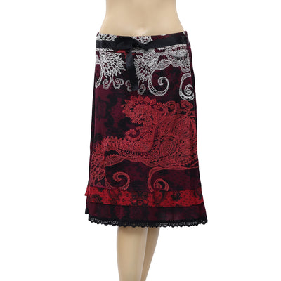 Desigual Rubber Printed Lace Midi Skirt XL