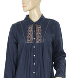 Velvet Embroidered  Navy Shirt Dress M