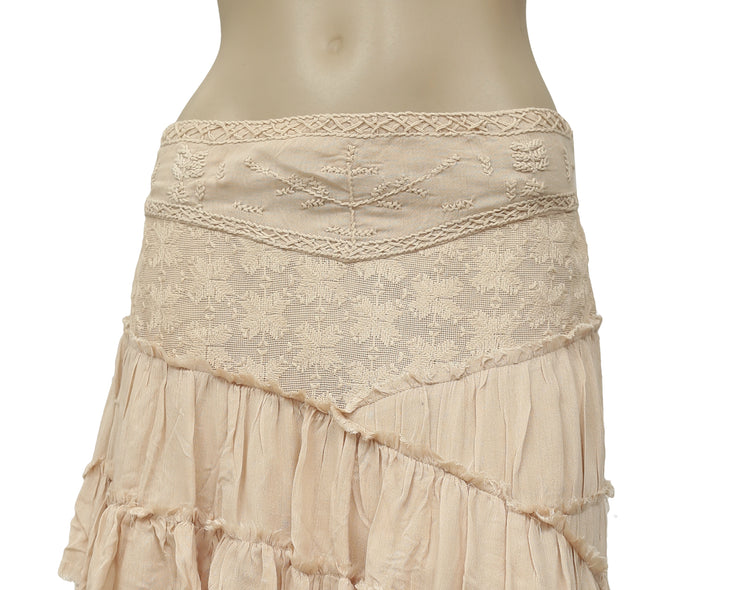 Free People Hold the Line Embroidered High Low Tiered Skirt S