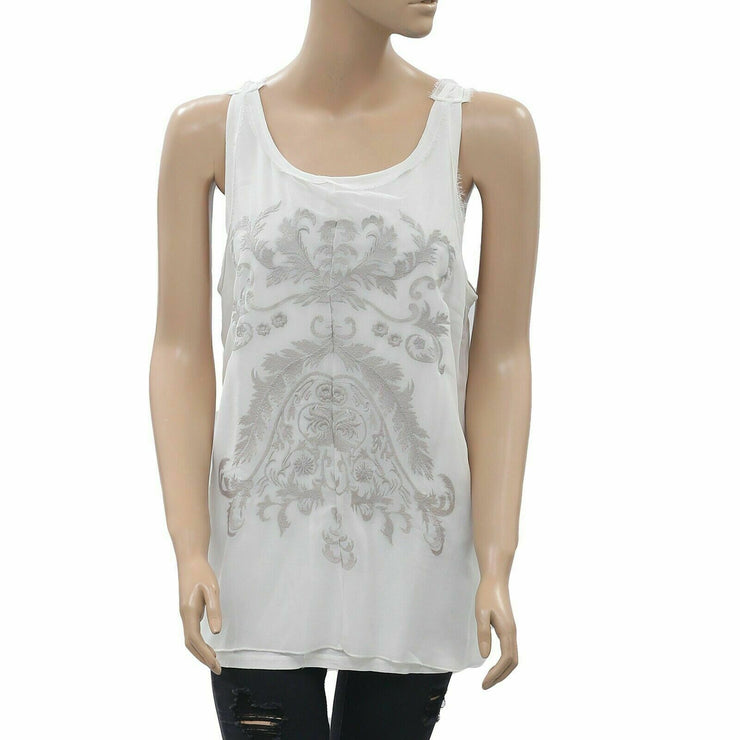 Superstar Sleeveless Embroidered Ivory Blouse Top S