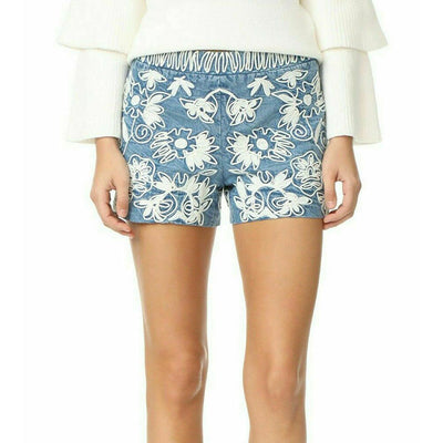 Alice + Olivia Marisa Floral Embroidered Blue Shorts