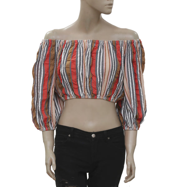 New Ulla Johnson Stripe Printed Off Shoulder Cotton Blouse Crop Top S