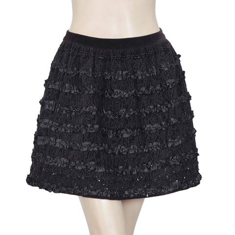 Manoush Beads Embellished Zipper Velvet Black Mini Skirt Small S