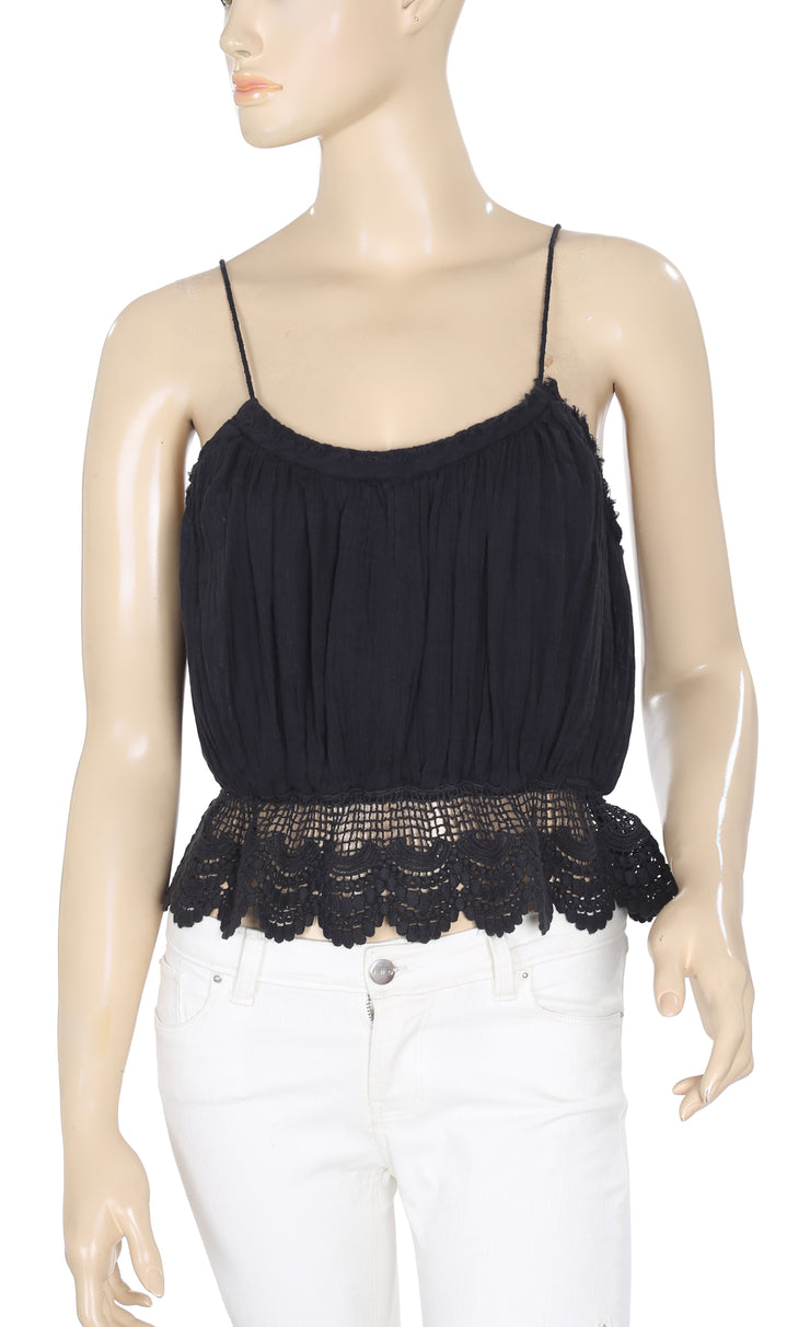 Free People White Sands Black Top S