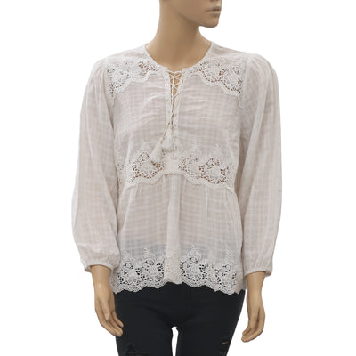 Ulla Johnson Check Embroidered Blouse Top M