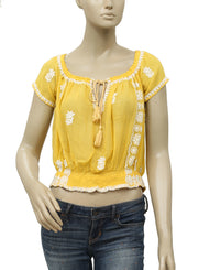 Free People Paisley Park Peasant Top Yellow S