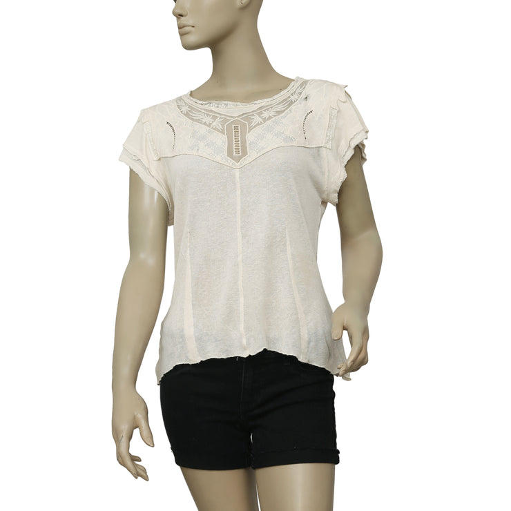 Free People Mariposa Tee Embroidered Ivory Top S
