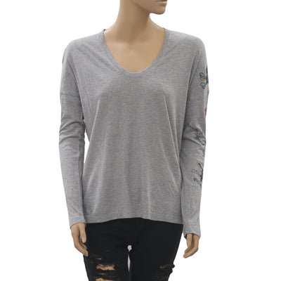 Zadig & Voltaire  Girls Gray T-Shirt Blouse Top Boho Cotton S