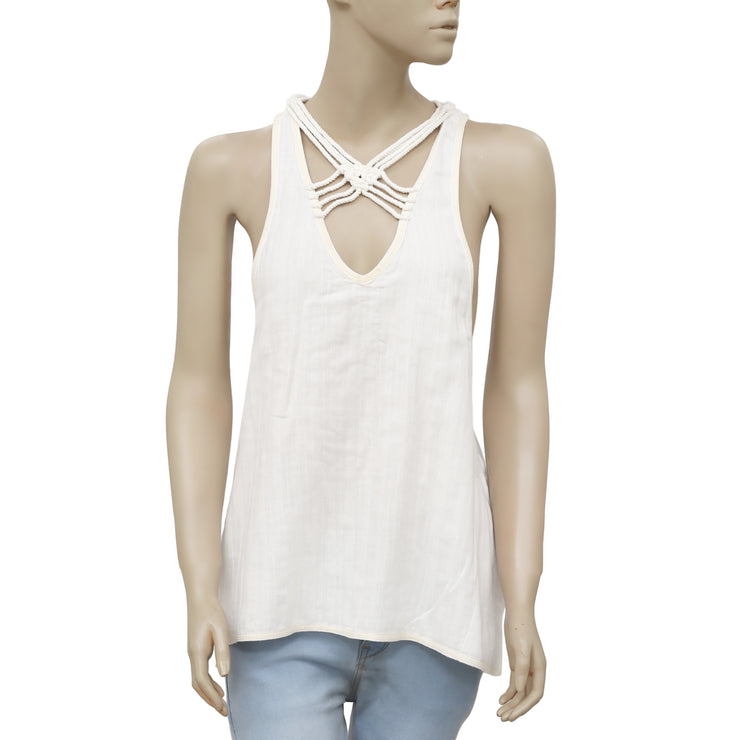 Free People One And Only Tank Pocket Ivory Blouse Topl S