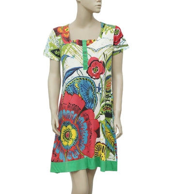 Desigual Floral Printed Short Sleeve Causal Mini Dress M
