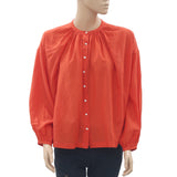 New Doen Buttondown Oversized High Low Orange Blouse Shirt Top Small S