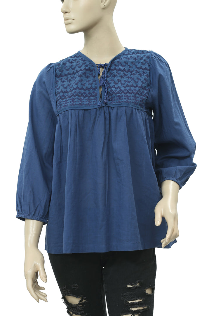 R Ninety Fifth Embroidered Blue Blouse Top S 36