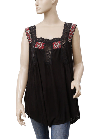 Free People Lace Sleeveless Printed Top L