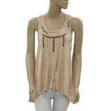 New Guess Los Angeles Sequin Embellished Fringes Racer Back Blouse Top XS