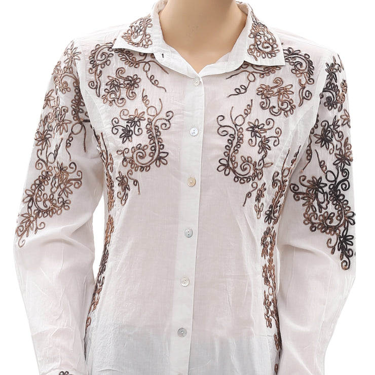 Roja Embroidered Buttondown Ivory Shirt Top S
