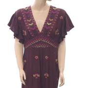 Free People Cleo Embroidered Jumpsuit Wide Leg Evening Wine Boho S