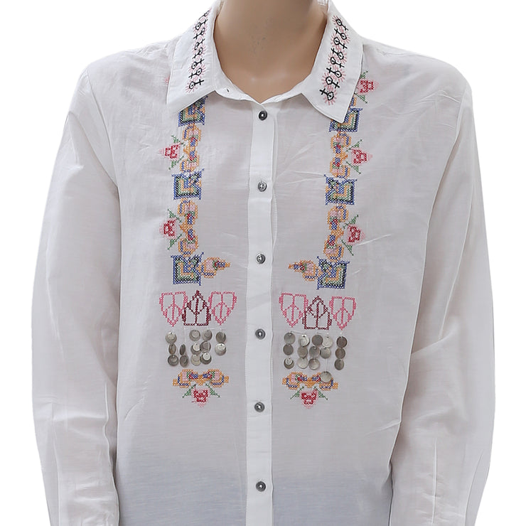 Desigual Embroidered Silk Shirt Tunic Top Metal Embellished Buttondown M