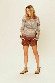 Free People New Romantics Printed Tobacco Shorts M