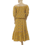 Rhode Resort Frida Off The Shoulder Yellow Midi Dress