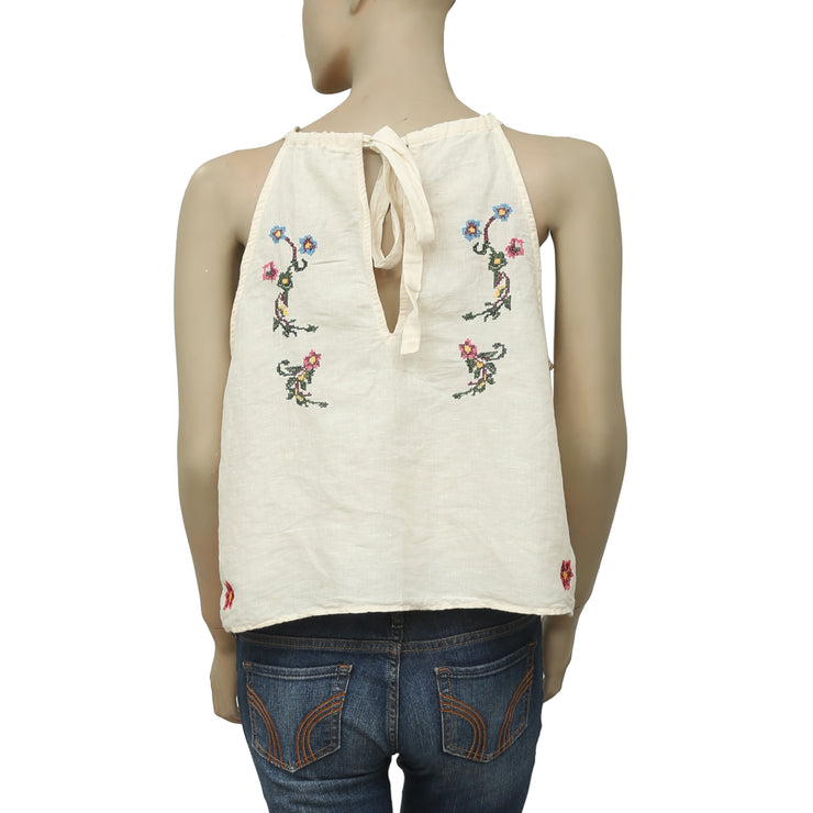 Free People Sleeveless Embroidered Smocked Blouse Top L