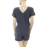 Victor B Lace V Neck Gray Cotton Romper M