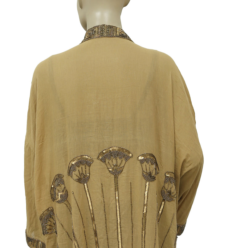 Free People Embellished Kimono Coverup Jacket Top S M