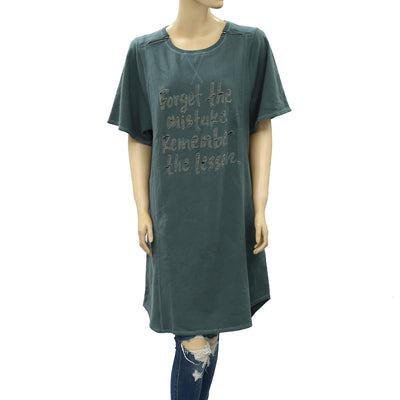 Free People We The Free Text Printed Tee Tunic Top L