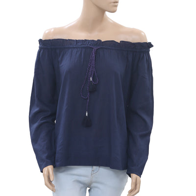 Ulla Johnson Front Tie Navy Blouse Top Off Shoulder High Low S